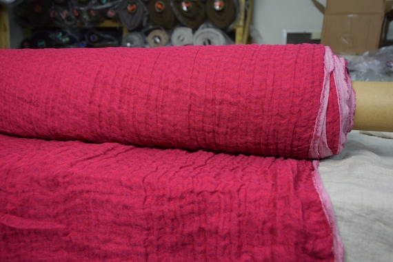 """Pure 100% linen fabric Delta Red Paradise Chevron 140gsm (4.15oz/yd2). Pre-shrunk. Naturally wrinkled. The last piece 1.00x1.45m (39""""x57"""")!"""