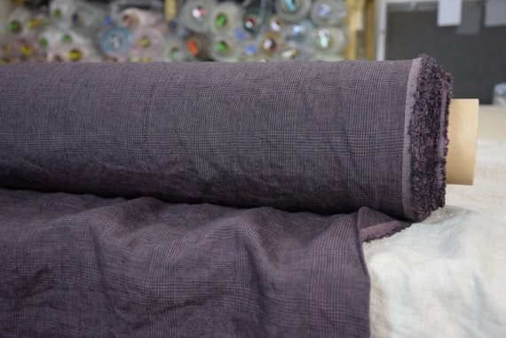 Pure 100% linen fabric Bona Glen Check Chocolate Plum 210gsm. Classic glen check pattern woven from black and purple-brown. Washed-softened.