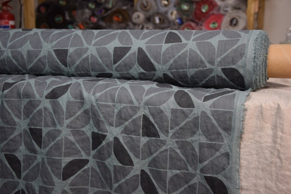 Pure 100% linen fabric Gloria Geometric Pattern Gray Green 200gsm (5.90oz/yd2). Washed-softened. Pre-shrunk.