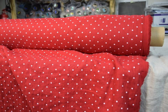 Pure 100% linen fabric Gloria Purely Red Polka Dot 190gsm. Clasic red color with small white dots. Washed-softened.
