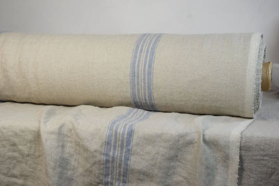 Pure 100% linen fabric Pera Blue 350gsm. French grain sack pattern - not dyed flax with blue stripes. Heavy, homespun, washed-softened.