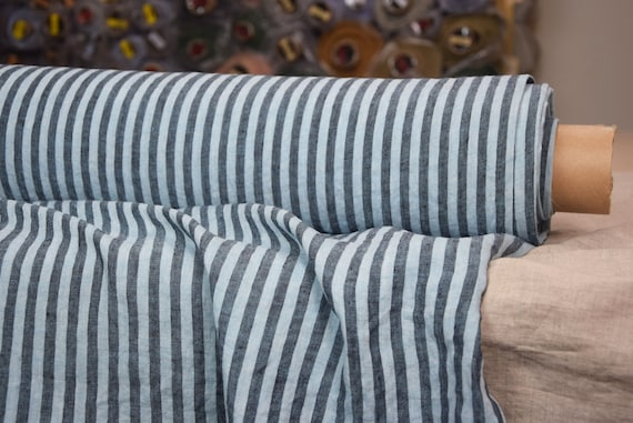 Pure 100% linen fabric Regina Bengal Stripes Turquoise 130gsm. Gray and pale blue-turquoise 8mm stripes. Light weight, washed-softened.