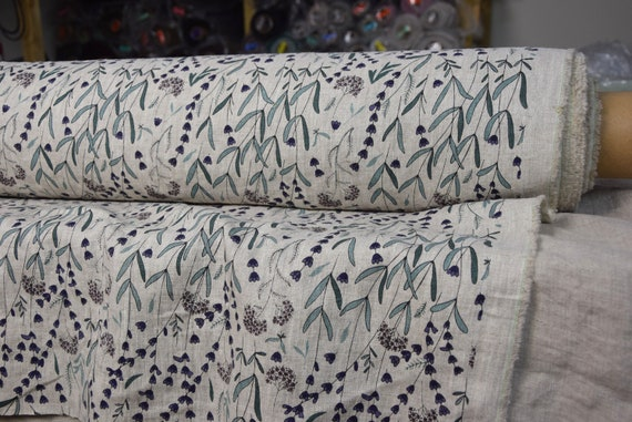 Pure 100% linen fabric Gloria Lavender Flowers On Beige Melange 200gsm. Washed-softened.
