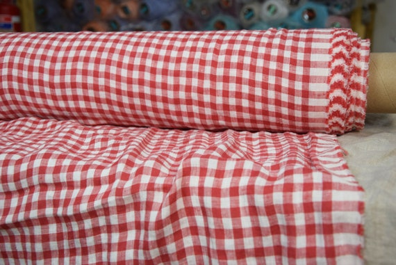 Pure 100% linen fabric Aura Red-White Gingham 125gsm (3.70oz/yd2). 8mm checks. Light weight, dense, washed-softened.