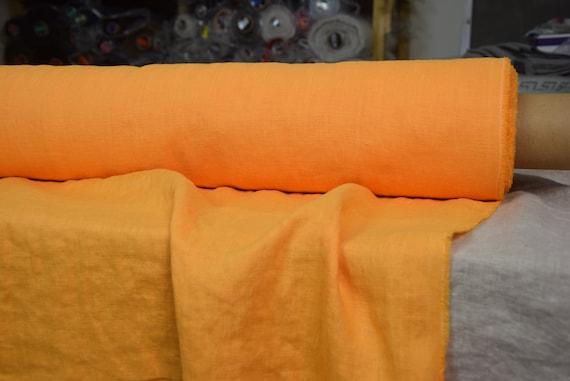 Pure 100% linen fabric Gloria Juicy Orange 190gsm(5.60oz/yd2). Marigold, bright vibrant orange-yellow. Middle weight, dense, washed-softened