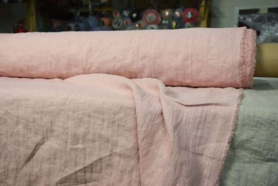 """Pure 100% linen fabric Gloria Pastel Pink 190gsm (5.60 oz/yd2). Washed-softened, pre-shrunk. Widht 145cm (57"""")."""