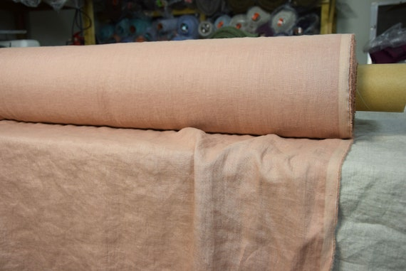 """Pure 100% linen fabric Aura Clay 125gsm (3.70oz/yd2). Brownish color with a soft rosy hint. Washed-softened. Widht 145cm (57"""")."""
