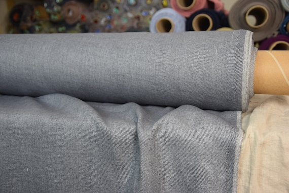 """Linen/wool (85/15%) fabric Teresa Blue-Gray 210gsm. Denim look melange. Washed-softened. The last piece 1.70mx1.45m=67""""x57""""! Middle weigh."""