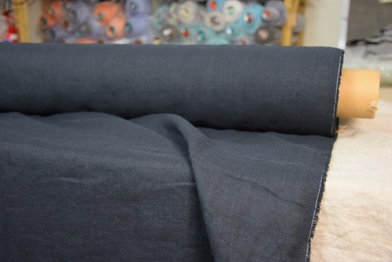 100% linen fabric Gloria Jet Black 190gsm (5.60oz/yd2). Very dark gray, almost black with a blue hue. Washed-softened. Pre-shrunk. Organic.
