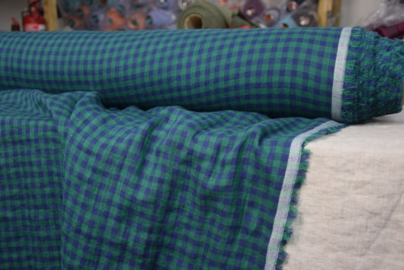 Pure 100% linen fabric Aura Blue Green Gingham 125gsm (3.70oz/yd2). 8mm checks. Light weight, dense, washed-softened.