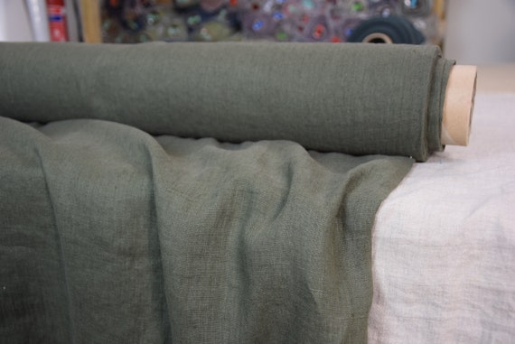 "Pure 100% linen fabric Gloria Dark Moss Green 190gsm. Middle weight, washed-softened.  The last piece 1.90mx 1.45m = 75""x57""!"