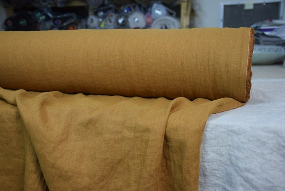Pure 100% linen fabric Gloria Burnt Sugar 190gsm(5.60oz/yd2). Mustard-brown. Washed-softened.