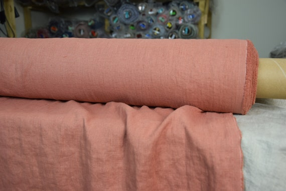 Pure 100% linen fabric Gloria Bouquet Rose 190gsm. Washed-softened.