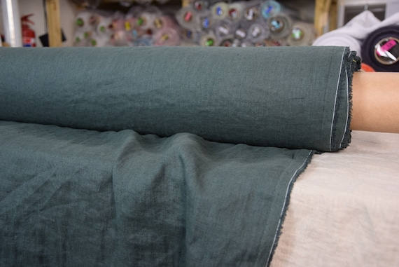 Pure 100% linen fabric Gloria Smoke Pine 190gsm. Dark green-gray color. Densely woven, washed-softened.