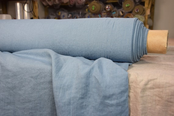 Pure 100% linen fabric Gloria Granada Blue 190gsm. Delicate, pastel, not too bold blue color. Washed-softened.