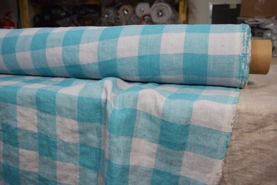 """Pure 100% linen fabric Margarita Chessboard Check Turquoise/Light Gray 190gsm (5.60 oz/yd2). Washed-softened. Width 145cm (57"""")."""
