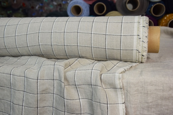 Pure 100% linen fabric Paloma Grid Natural/White/Black 220gsm. Checkered. Densely and plainly woven, washed-softened.