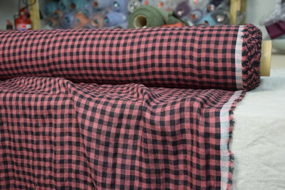 Pure 100% linen fabric Aura Red/Black Gingham 125gsm (3.70oz/yd2). 8mm checks. Light weight, dense, washed-softened.