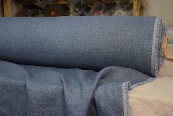 Linen/wool (85/15%) fabric Teresa Denim Blue 210gsm. Blue melange, twill denim weaving. Washed-softened, pre-shrunk.