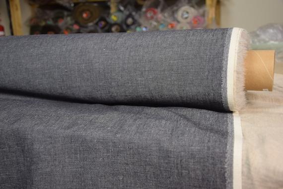 linen/wool/cotton fabric Dakota Denim Gray Melange 210gsm. Gray melange, twill denim made from black-white. Washed-softened, pre-shrunk.