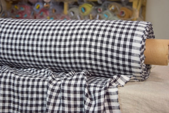 Pure 100% linen fabric Aura Black White Gingham 125gsm. 8mm checks. Light weight, dense, washed-softened.