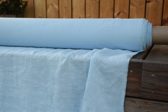 Pure 100% linen fabric Gloria Azure Blue 190gsm. A deep azure colour of the unclouded sky. Washe-softened.