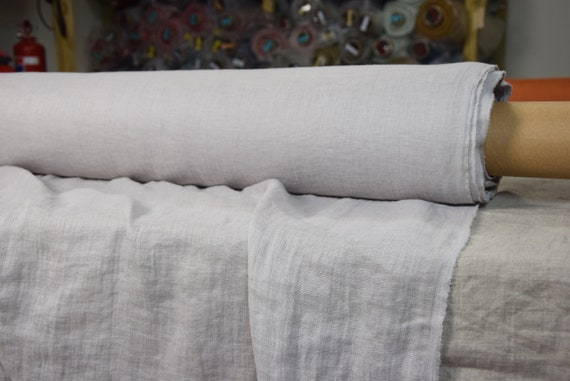 """Very thin 95gsm (2.80oz/yd2) semi-sheer pure 100% linen fabric Serena Summer Shower. Pale warm gray. Washed-softened. Widht 145cm (57"""")."""
