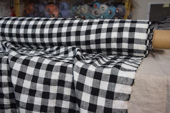 Pure 100% linen fabric Gloria Black/White Chessboard Check 190gsm(5.60oz/yd2). 2cm checks. Washed-softened, pre-shrunk, eco-friendly.