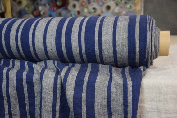 """SWATCH (sample) 12x12cm (5x5""""). Pure 100% linen fabric Terra Barcode Stripes Blue Gray 210gsm. Medium weight. Washed-softened."""