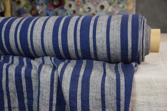 Pure 100% linen fabric Terra Barcode Stripes Blue Gray 210gsm. Medium weight. Washed-softened.
