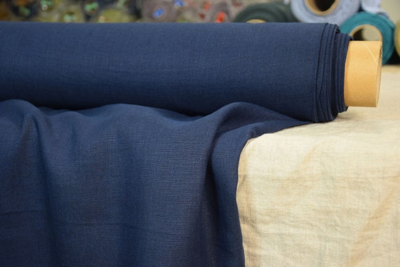 Pure 100% linen fabric Gloria Deep Indigo Blue 190gsm. Rich saturated dark blue color, purple undertone. Washed-softened.