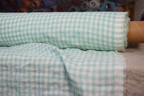 """Pure 100% linen fabric Aura Mint Gingham 125gsm (3.70oz/yd2). 8mm checks. Pastel green vichy. Washed-softened. Widht 145cm (57"""")."""