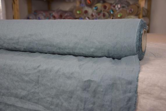 Pure 100% linen fabric Gloria Stormy Sea 190gsm. Quite dark gray, bluish-greenish undertone. Washed-softened