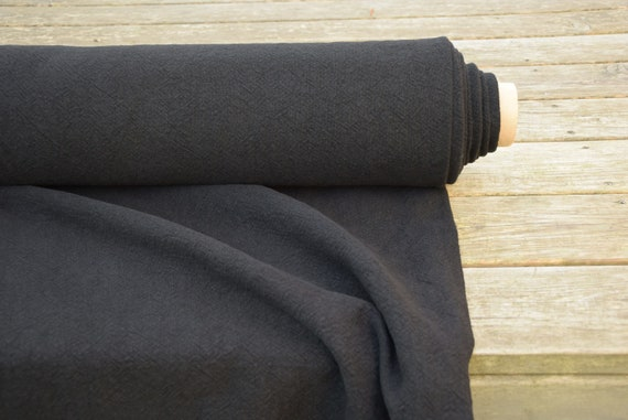 100% linen fabric Gravita Black 450gsm(13.30oz/yd2). Washed/Pre-shrunk. Thick, very heavy, eco-friendly material for upholstery, furnishing.