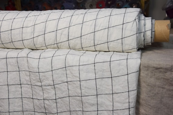 """SWATCH (sample) 12x12cm (5x5""""). Pure 100% linen fabric Aurora White Black Graph Check 160gsm(4.80oz/yd2). 4.50cm grid. Washed-softened.d"""