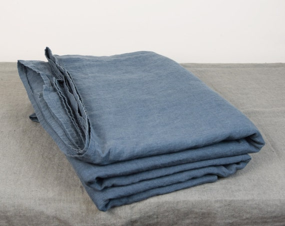 100% linen flat sheet. BLUE SHADOW bedding collection. Blue-grey/gray color. Single, twin, double, queen, king, custom sizes. Stone washed.
