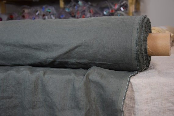 Pure 100% linen fabric Astra Hunter Gray 170gsm. Muted camouflage gray with some green undertone. Washed-softened.