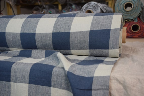 Pure 100% linen fabric Margarita Gameboard Pattern Blue-Gray 190gsm. Dark blue-gray and light gray 8cm checks. Washed-softened.