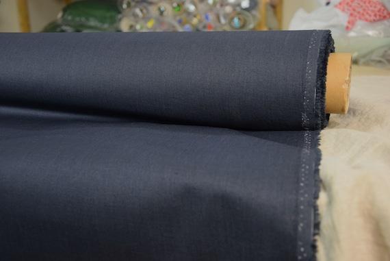 Pure 100% linen fabric Gloria Water-Pro Blue Shadow 245gsm. Water&mud repellent, waterproof, water-resistant, waxed, dark blue-gray, navy.