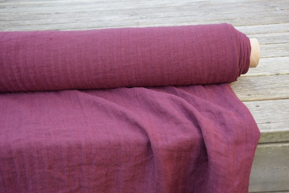 Pure 100% linen fabric Sigma Beetroot Red Herringbone 230gsm(6.80oz/yd2). Washed-softened. Pre-shrunk. Extra soft.