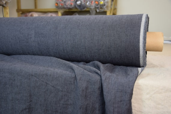 Pure 100% linen fabric Margarita Blue Granite 190gsm. Dark muted blue-gray melange. Medium weight, washed-softened.