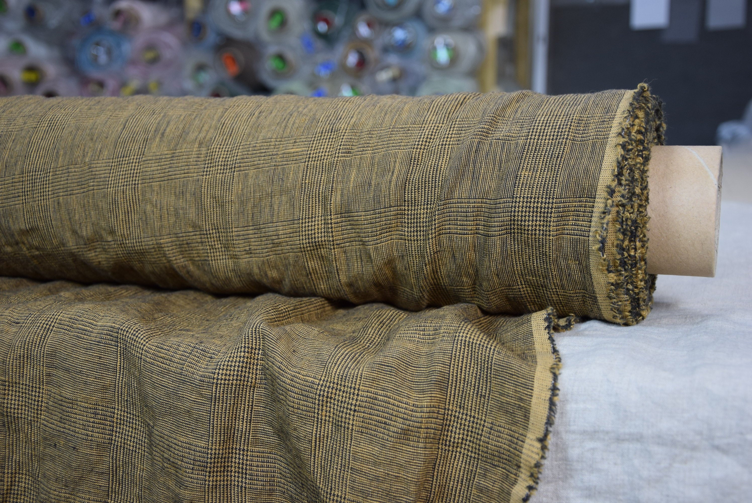 Softened-washed Beige-brown colors The last piece 1.90x1.45m Pure 100/% linen fabric Montana Windowpane Checks Beige 235gsm 75x57!