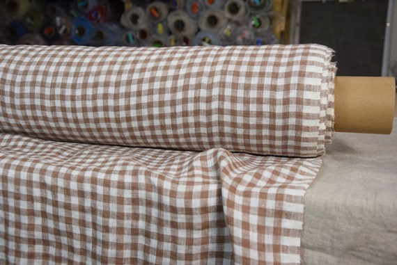 """Pure 100% linen fabric Aura Colorado Brown Gingham 125gsm. 8mm checks. Washed-softened. Reddish brown. The last piece 1.30x1.45m=51""""x57""""!"""