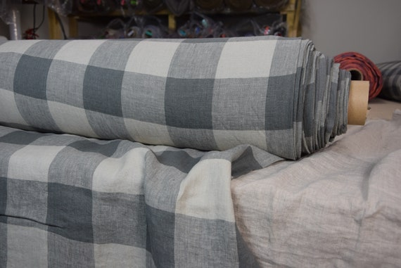 Pure 100% linen fabric Margarita Gameboard Pattern Gray/Flaxen 190gsm. Dark gray and light brownish gray 8cm checks. Washed-softened.