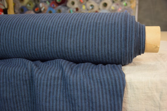 Pure 100% linen fabric Terra Blue/Black Striped 210gsm. Dark blue 4mm stripes. Washed-softened.