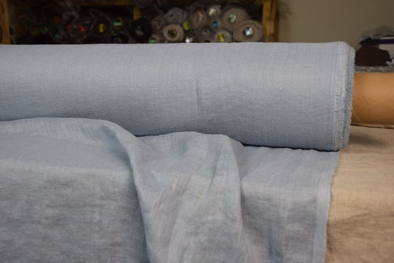 Very thin 95gsm semi-sheer pure 100% linen fabric Serena Cashmere Blue 95gsm. Soft pastel muted blue color. Washed-softened.