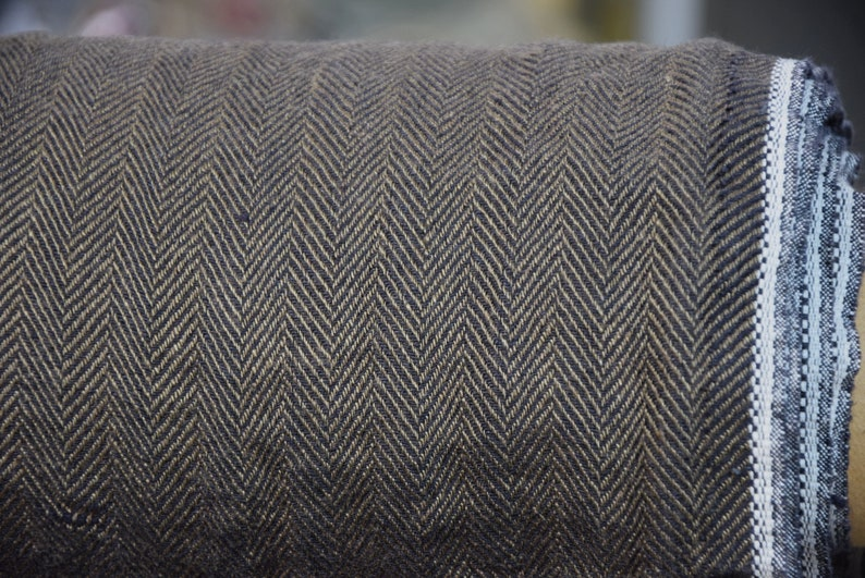 mix of dark brown and black Pure 100/% linen fabric Sigma Black Soil Herringbone 220gsm Broken twill Washed-softened. WHOLESALE