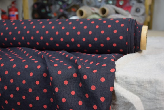 """Pure 100% linen fabric Aura Charcoal Red Polka Dot 125gsm(3.70oz/yd2). Washed-softened. The last piece 1.70mx1.45m=67""""x57""""!"""