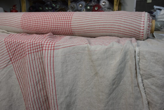 Pure 100% linen fabric Stella Natural Red Window Check 180gsm(5.35 oz/yd2). Undyed flax and red big pattern. Washed, softened, pre-shrunk.