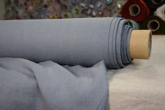 Pure 100% linen fabric Gloria Gull Gray 190gsm. Gray color with glaucous blue undertone, bluish-gray. Densely woven, washed-softened.
